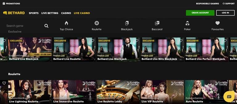 Live Casino hos Bethard.com